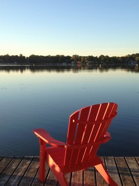 2013 Red Chair - September Morning on St. Alban's Bay